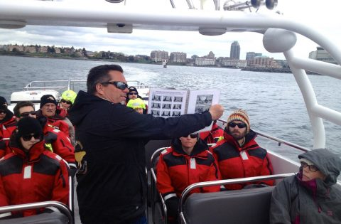 Captain jeff giving a bit of info as we taxi out of the harbour